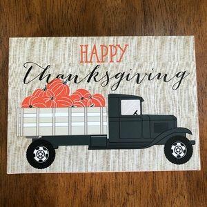 HAPPY THANKSGIVING pumpkin truck block sign